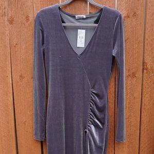 New Long Silver Velvet Dress